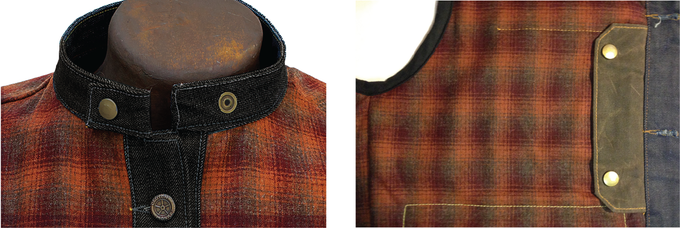 Traditional cafe collar.  Heavy weight waxed cotton lined pistol pocket - water repellant.