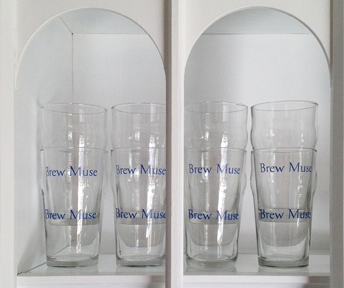 Reward example, branded Nonic glassware