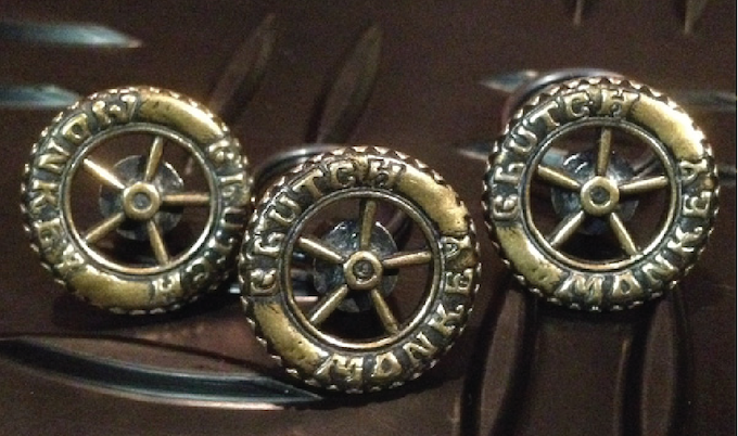 Individually cast in California out of solid bronze. Design modeled after an old invader mag-wheel & functions like old-school change-buttons - can be swapped with different Clutch Monkey button designs or worn on the lining side to show-off the Dig's rev