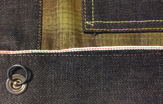 American-made steel grommets and split-rings - remove the split ring and the button comes off.  Additional selvedge accent along inside waistband.