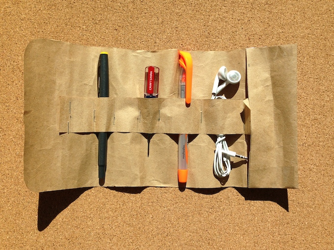Every project begins with a quick model - a grocery bag, a stapler and packing tape for this one!