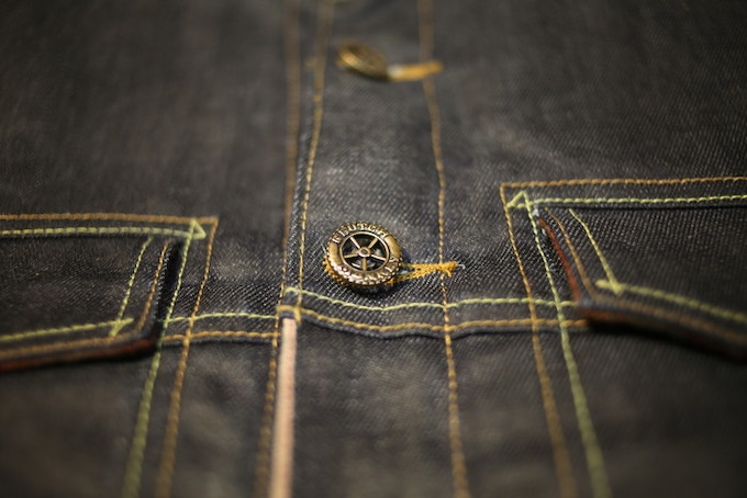 Contrast stitching -  two traditional denim thread colors.  Selvedge accent along the facing beginning at the yoke.
