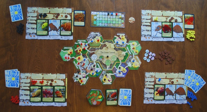 Mid-way through a four player game (prototype components).