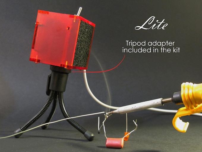 fumeFan Lite on a tripod (Tripod adapter in the kit, tripod not included)