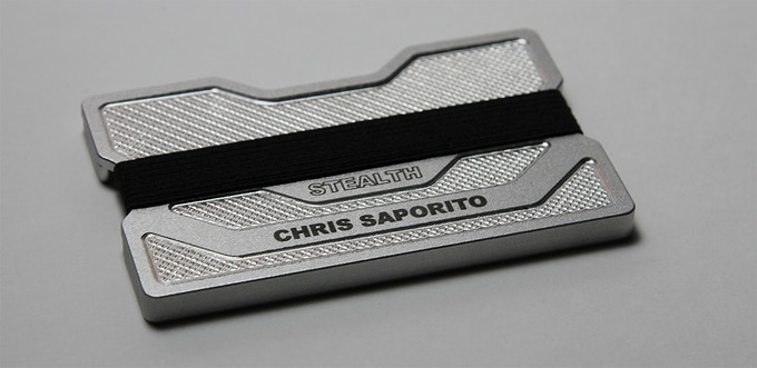 Stealth Aluminum Series (Silver) with custom name engraving.