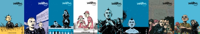 The covers of all eight issues