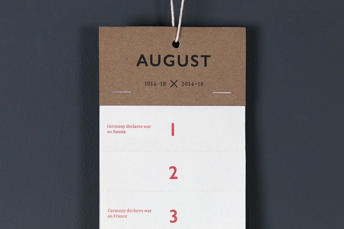 The Remembrance hanging calendar highlights daily events from the First World War 100 years ago