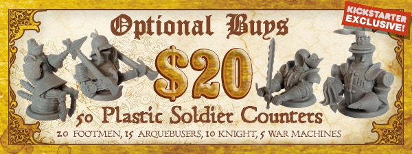 If you'd like 50 Plastic Soldier Counters, just add $20 to your pledge by clicking Manage Pledge from the Dogs of War Kickstarter page, and we'll sort it out after the Kickstarter ends with our pledge manager.