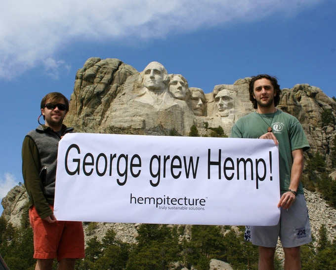 Hempitecture Founders at Mount Rushmore, advocating for Industrial Hemp