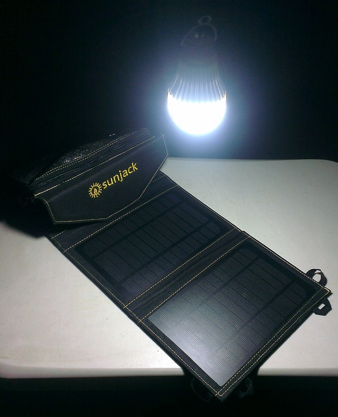 SunJack powering our own 2.5W USB bulb. 8-16 hours of light after one charge!