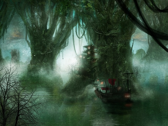 The Emerald Islands are each a huge mangrove world-tree with its own self-contained ecosystem. The deadly Shark's Teeth assassins once were headquartered here, until the Black Dragon pirate fleet decimated their fortress and took over their world tree.