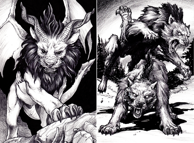 The chimera and the spider-wolves are mutant creations of the mad scientist Fleshcrafter Slissik. The griffin, the manticore, dire creatures ... all of these are his unique creations. For the right price, he can give you a third leg.