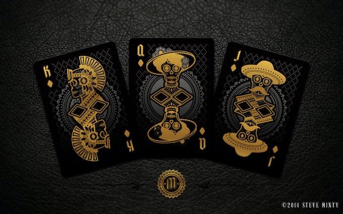Muertos Night Deck Diamonds Face Cards - (Left to Right) El Azteca, La Catrina, El Caballero