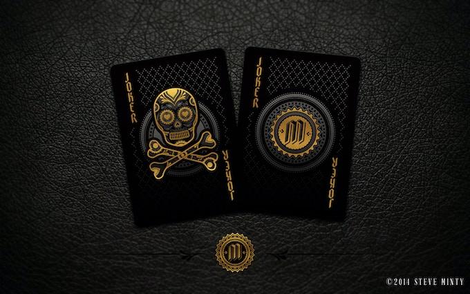 Joker cards feature the Calaveras (sugar skull) and the Muertos Insignia.