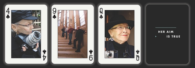 Be ahead of the pack with your own exclusive Her Aim Is True playing cards, featuring our cool production stills.