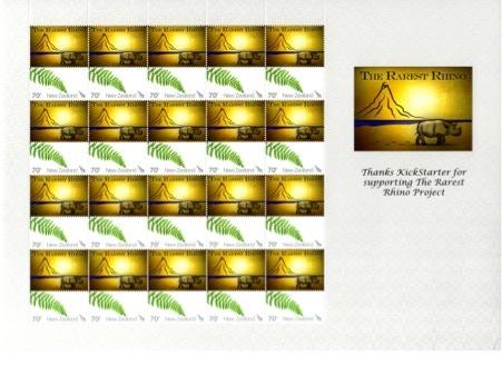 New Zealand Rarest Rhino Stamp Sheet