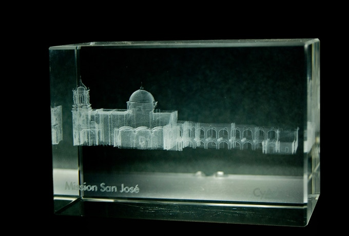 Example of laser-engraved crystal cube for Crystal Pledge (cube will be engraved with 3D data of the Pavilion's Observation Towers and Tent of Tomorrow)