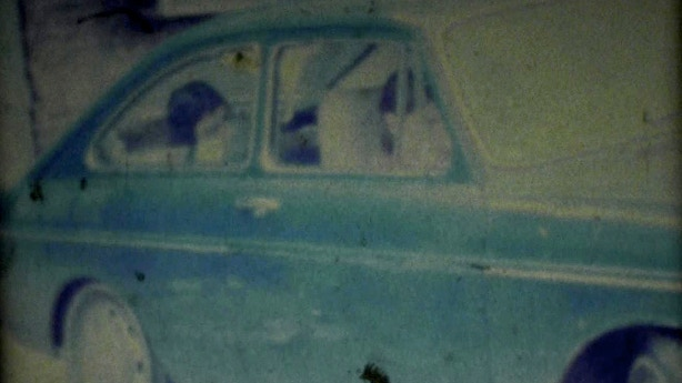 Hanging in Henry Rollins' car, Super-8 freeze frame, circa 1980