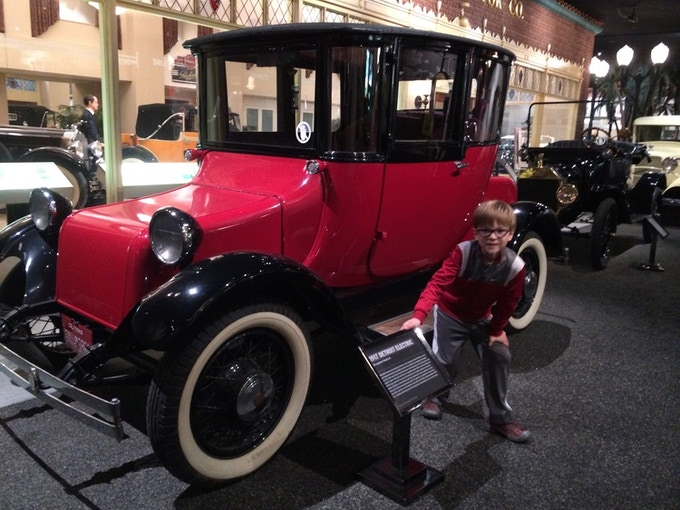 Back to the future? Elliot and the 1917 Detroit Electric, at Petersen Automotive Museum