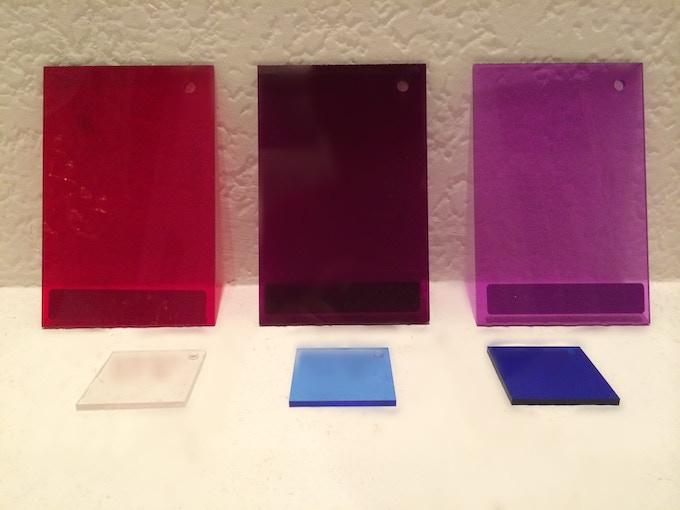 Top - Left: Blood Red   Center: Dark Violet   Right: Light Purple  ------ Bottom - Left: Clear   Center: Light Blue   Right: Dark Blue