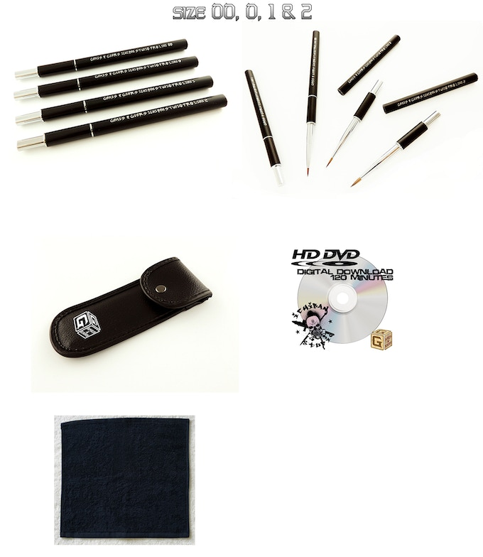 Your pledge Reward: Games & Gears Ichiban Pro Studio Line  Brushes, G&G Case, Ichiban G&G DVD, G&G Ichiban Masters Towel Limited edition. All part of your pledge. Super Innovators get two sets of each items