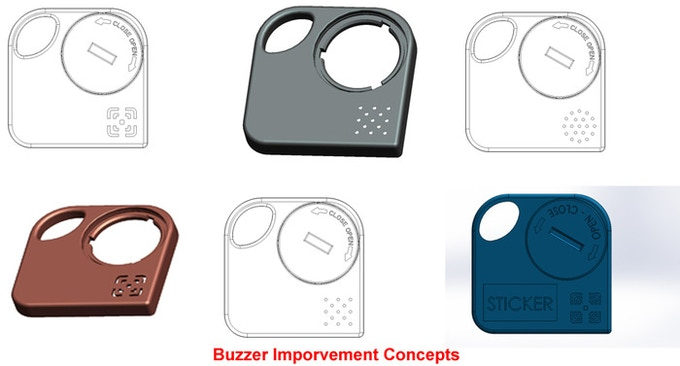 Various casing designs to check for maximum buzzer sound