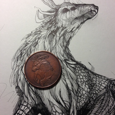 Ki-Rin, Lawful Good, 100 Denomination coin with initial concept art.