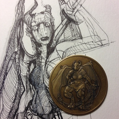 Half-Dragon, Lawful Neutral, 500 Denomination coin with concept sketch.