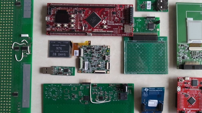 Some of the custom PCB's and evaluation boards used
