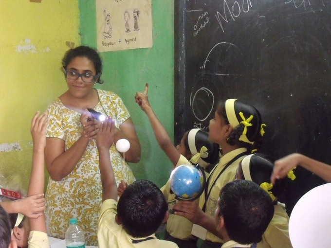 Children in India engaging with Universe in a Box activities