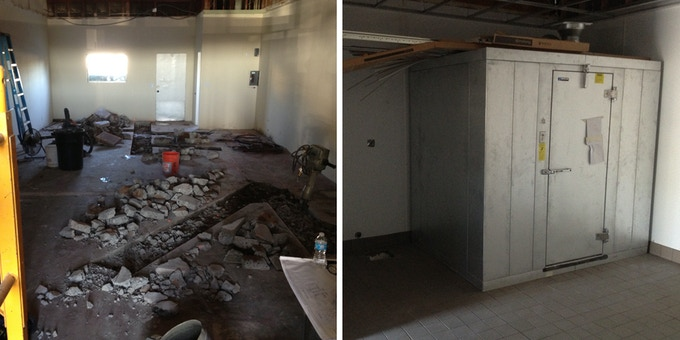Retail store into a FULL bakery = HARD WORK + our existing TINY Cold Room ready for a facelift.