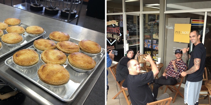 The first ever batch of Pie-Not Aussie style pies & a bunch of locals enjoying some pre-opening taste testing.