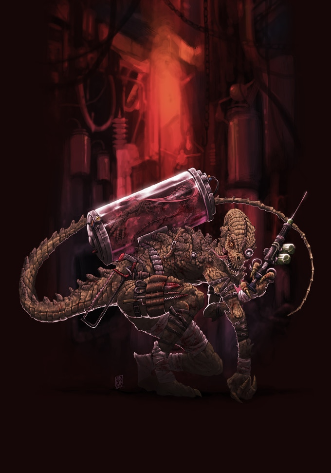 Fleshcrafter Slissik is lord of Grief Mountain, a hollowed peak filled with cavernous zoos, dungeons, and mutant menageries. He can create any monster you can imagine. He seeks a piece of the Sleeping God's flesh, that he might create a replacement deity.
