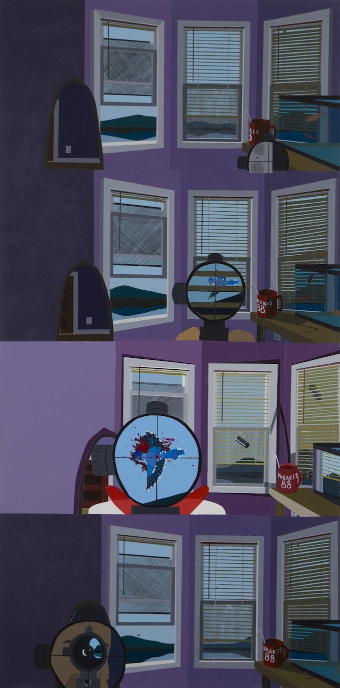 """Reward #10: Sight Enough (Bluejay Season), acrylic on canvas, 48""""x 24"""""""