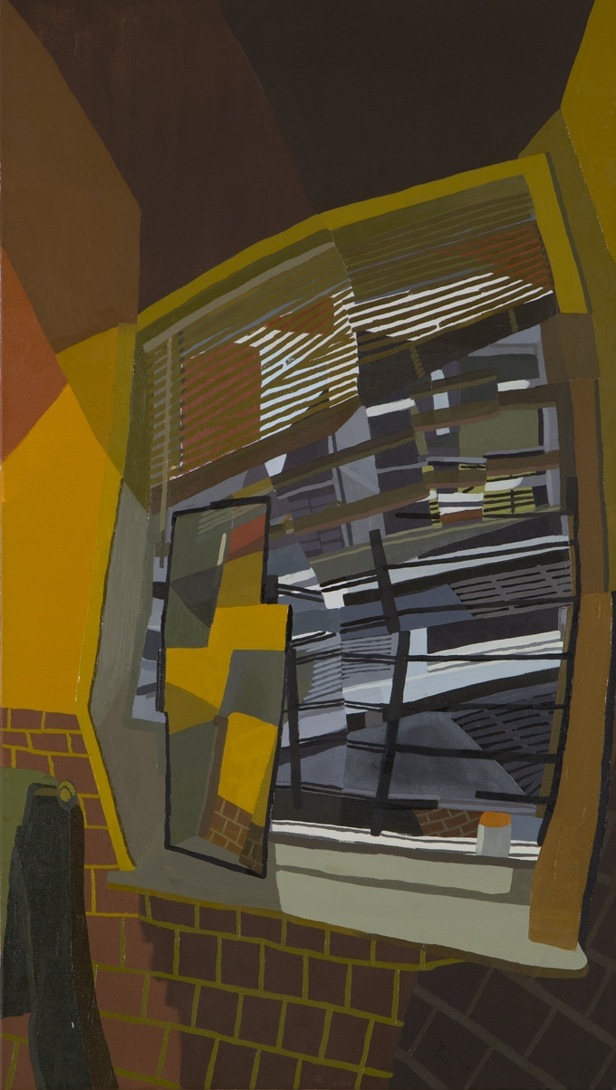 "Reward #8: Bathroom Window, oil and acrylic on canvas, 44""x 25"""