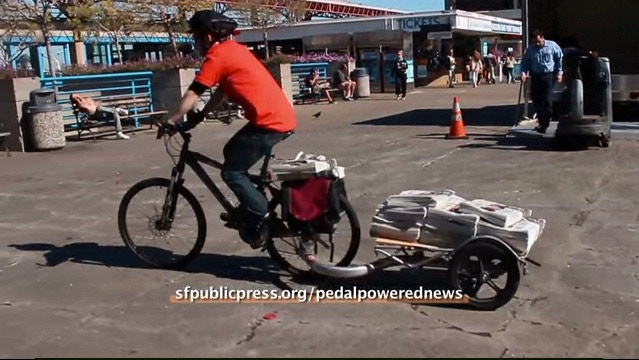 Prototype for pedal-powered newspaper delivery