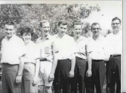 A photo of my dad and his siblings! Dad's the third from the left.