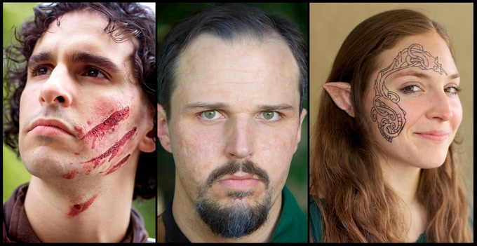 An example of the quality of makeup we used in the pilot episode. Wounds, old age, and elven tattoos!