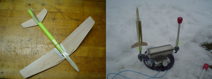 First Air Rocket Glider (ARG) Prototype on left,  Ready to launch on double barrel custom machined launcher on right (not for sale)
