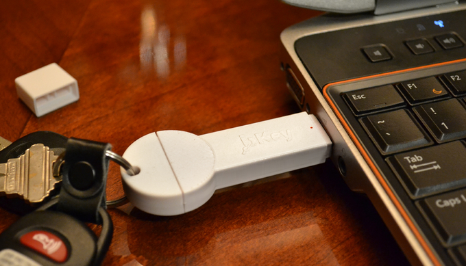 bKey charging through a computer's USB port