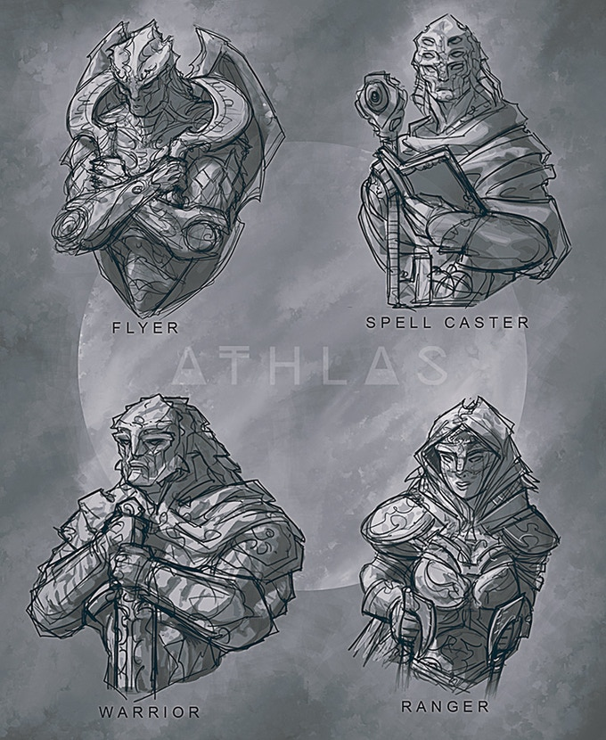 2D sketches for Athlas miniatures