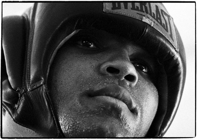 < H > Ali close-up during a sparring workout
