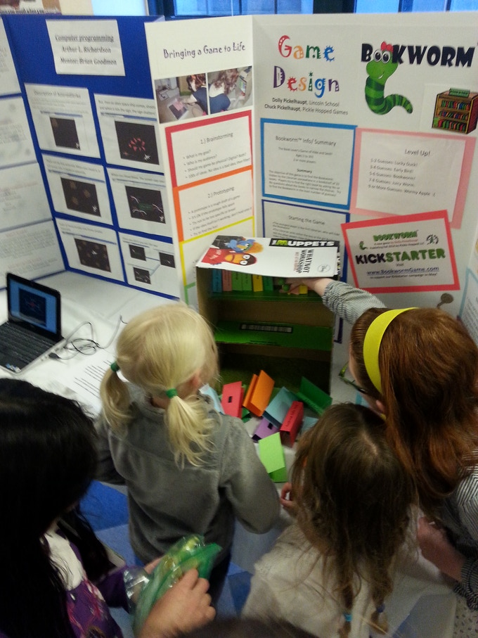 Younger kids playtesting Bookworm