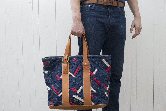 Custom tote made from jeans and chamois shirts