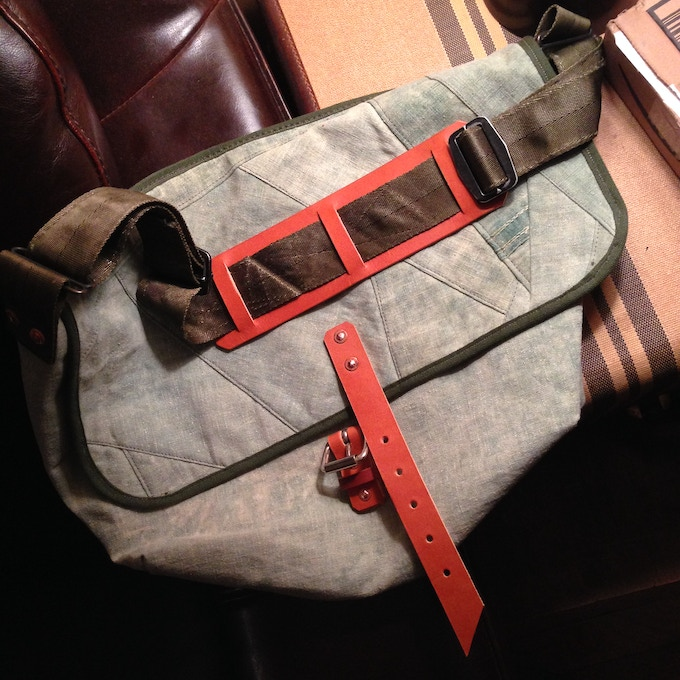 Custom messenger made from customer's childhood canvas tent