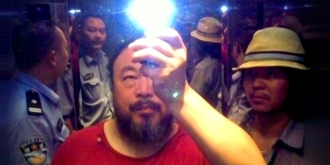 Ai Weiwei in the elevator when taken into custody by the police, Sichuan, China, 2009; photo courtesy the artist