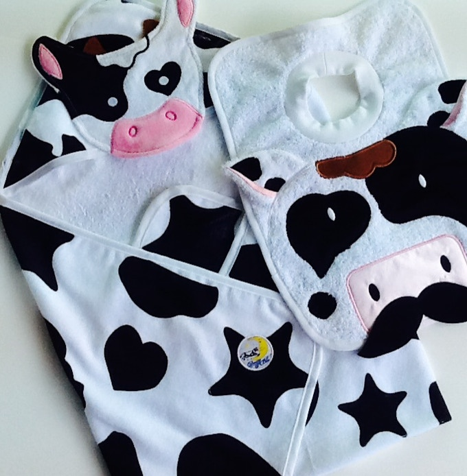 Baby Bath & Body: Cow Towel and MOO-stache Bib in 100% Cotton velour terry ($35)