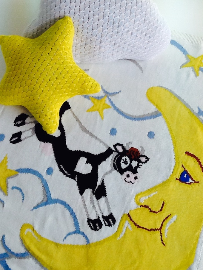 Over The Moon Collection: Limited Edition Cow Over The Moon Blanket plus star & Cloud shaped pillows ($225)