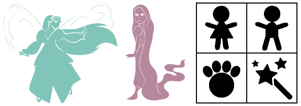 Book icons for Thumbelina and Rapunzel and possible pre-reader story indicators