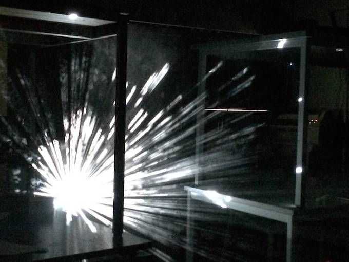 Tests of second interactive audio-visual installation developed by LUST using smoke screen projection